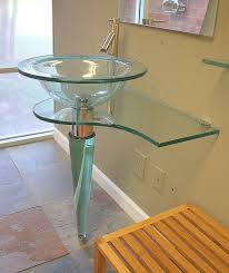 31 5 in wide all glass contemporary modern bathroom glass vessel sink pedestal vanity and top