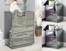 vegas white glass mirrored bedside tables. Vegas SMOKE Mirrored Bedside Tables \u0026 Tallboy Package - Mirror Furniture White Glass