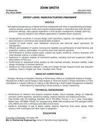 Industrial Engineer Sample Resume Entry Level Manufacturing Engineer