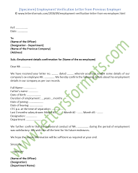 Sample Letter Confirming Employment Letter Of Employment Verification From Previous Employer