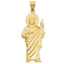 fb jewels fb jewels 14k yellow gold saint jude thaddeus pendant 70mm x 25mm com