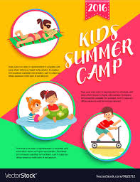Playing Vector Kids Children Image Camp Poster Summer