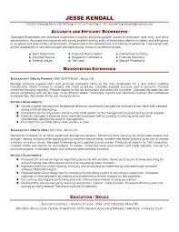 bookkeeper sample resume