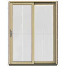 wood sliding patio doors. JELD-WEN 60 In. X 80 W-2500 Contemporary Red Clad Wood Sliding Patio Doors G