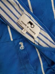 Details About Moods Of Norway Size L Shirt Sleeve Short Logo Cotton Stripes 100 Blue