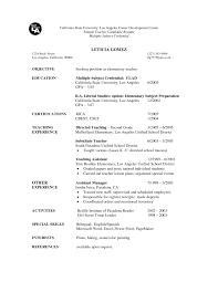 Sample Resume For Substitute Teacher Or Elementary School Teacher
