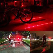 2x Laser 5x Led Rear Flashing Lamp Bicycle Lane Light