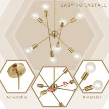 8 Light Sputnik Chandelier Bonlicht 8 Lights Modern Sputnik Chandelier Lighting Brushed Brass With Adjustable Arms