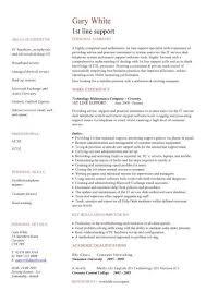 It Resume Template 18 1St Line Support Cv - Techtrontechnologies.com