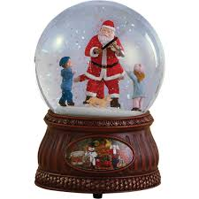 al santa with fiddle kids rotating glitter dome