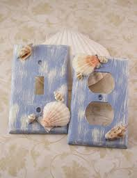 Seashell Bedroom Decor Light Switchplate Covers Blue Home Decor Distressed Sea Shell