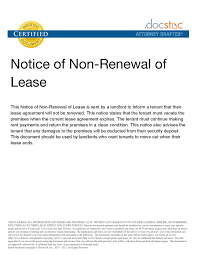 Letter To Not Renew Lease Letter Not Renewing Lease Free Printable