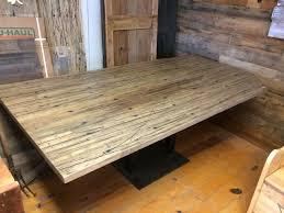 a custom reclaimed semi trailer oak breakfast nook table made