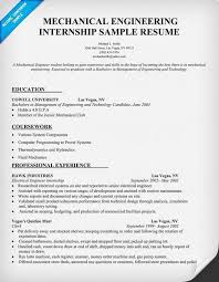 Mechanical Engineering Internship Resume Sle Internship