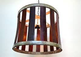 a hand made craftsman drum barrel stave chandelier made to order from wine country craftsman custommade com