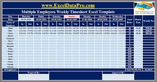 Excel Employee Time Sheet Download Multiple Employees Weekly Timesheet Excel Template