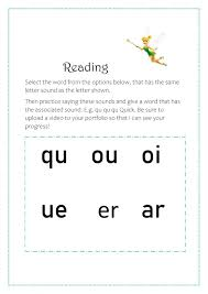 Printable worksheets for teaching students to read and write basic words that begin with the letters br, cr, dr, fr, gr, pr, and tr. Phonics Qu Ou Oi Ue Er Ar Worksheet