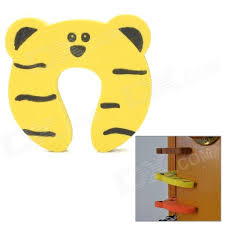 Cute Bear Pattern Baby Safety Door Stopper Finger Pinch Guard - Yellow