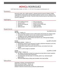 Job Description For Cashier For Resume Curriculum Vitae