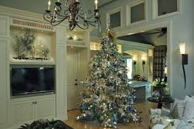 white flocked christmas tree decorating ideas mid sized traditional open concept living room idea in san amazing restaurant media