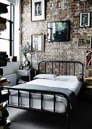 Warehouse Home soft industrial bedroom in pink and grey with vintage  industrial furniture and bespoke galvanised