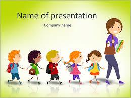 Teachers Powerpoint Templates Illustration Of School Kids Following Their Teacher Stock Vector