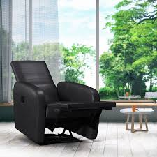 costway manual recliner chair contemporary foldable back leather reclining chair sofa 3