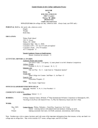 Examples Of Resumes Resume Example For College Application With