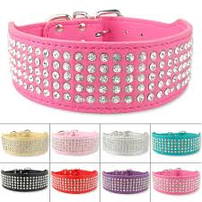 2019 pet products 2 inch wide 5 rows jewerly rhinestone studded bling leather dog collars diamante pet collars from linfashan 46 07 dhgate com