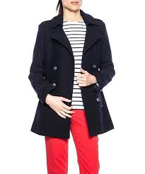 long pea coats for women coat reefer jacket navy blue wool double ted only size black