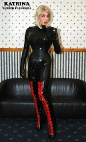 Transsexual model rubber fetish
