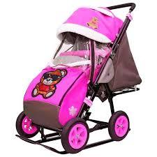 Купить Санки-коляска Galaxy <b>City</b>-1-1 <b>мишка</b> в красном в очках на ...