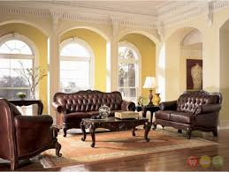 Victorian Living Room Furniture Victoria Traditional Brown Genuine Leather Tufted Sofa Loveseat