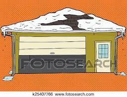 broken garage door with snow on roof over orange background