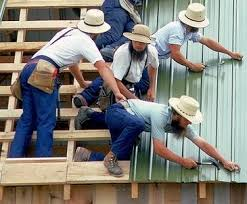 at an amish barn raising a helping hand holds brother from falling off edge amish metal roofing n24