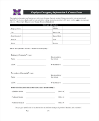 employer emergency contact form template employee emergency information form template staff medical