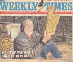 weeklt times kevin hillier with hand of faith gold nugget on weekly times