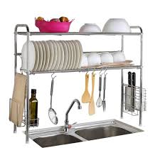 2 tier shelf stainless steel dish bowl drying rack over sink kitchen storage new