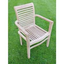 made solid teak stacking patio chair