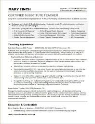 Resume For Substitute Teacher Pusatkroto Com