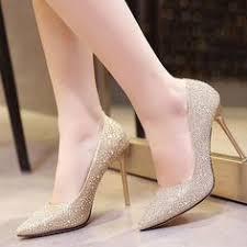 Pointed Toe Women Pumps <b>Spike High</b> Heels Sequined Wedding ...