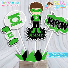 Personalized Superhero Birthday Invitations Green Lantern Centerpieces Superhero Centerpiece Boy Superheroes
