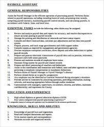 Payroll Job Description Sample 11 Examples In Word Pdf