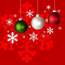 White, Red and Green Christmas Ornaments On Red & White Snowflake  Background   Stock Photo   Colourbox