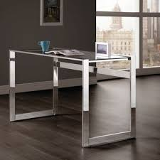 Clear office desk Peekaboo Silver Orchid Ipsen Modern Chrome And Glass Top Writing Desk Overstock Buy Clear Desks Computer Tables Online At Overstockcom Our Best