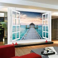 Fashion Window 3D Maldives Large Ocean View Wall Stickers art Mural Decal  Wallpaper Living Bedroom Hallway Childrens Rooms free shipping