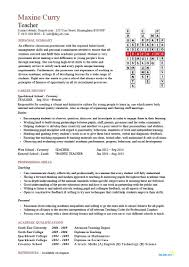 Teacher Resume Crossword Template Cv Skills High School