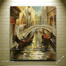 marvellous river city painting nice oil painting of city scene man riding boat on river canvas marvellous river city painting