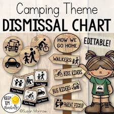 Camping Theme Dismissal Chart How We Go Home Camping Theme Classroom Decor