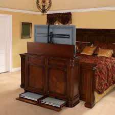 Crystal Pointe Brown TV Lift Cabinet By TVLiftCabinetcom - Bedroom tv lift cabinet